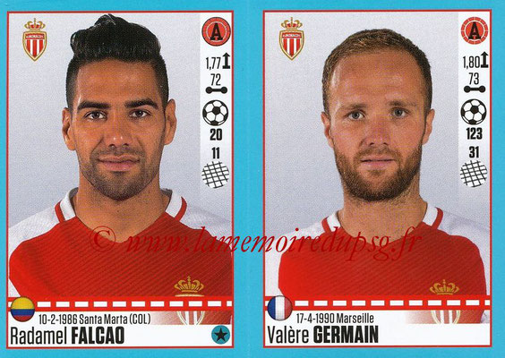 2016-17 - Panini Ligue 1 Stickers - N° 502 + 503 - Radamel FALCAO + Valère GERMAIN (Monaco)