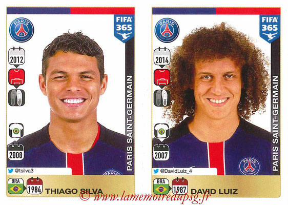 2015-16 - Panini FIFA 365 Stickers - N° 434-435 - Thiago SILVA + David LUIZ (Paris Saint-Germain)