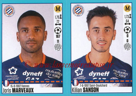 2016-17 - Panini Ligue 1 Stickers - N° 538 + 539 - Joris MARVEAUX + Kilian SANSON (Montpellier)