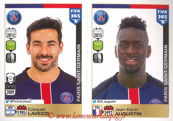 2015-16 - Panini FIFA 365 Stickers - N° 457-458 - Ezequiel LAVEZZI + Jean-Kévin AUGUSTIN (Paris Saint-Germain)