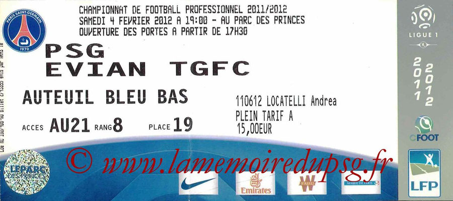 Tickets  PSG-Evian  2011-12