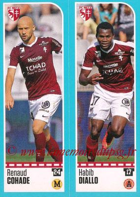 2016-17 - Panini Ligue 1 Stickers - N° 436 + 437 - Renaud COHADE + Habib DIALLO (Metz)