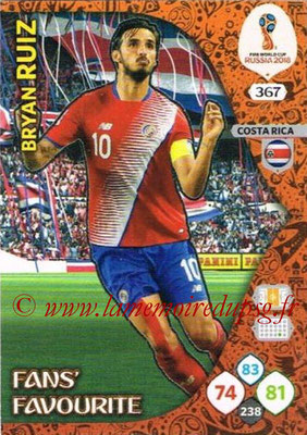 2018 - Panini FIFA World Cup Russia Adrenalyn XL - N° 367 - Bryan RUIZ (Costa Rica) (Fans' Favourite)