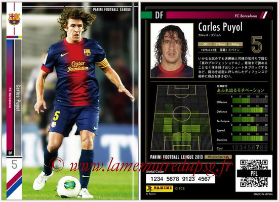 Panini Football League 2013 - PFL03 - N° 034 - Carles Puyol (FC Barcelone)
