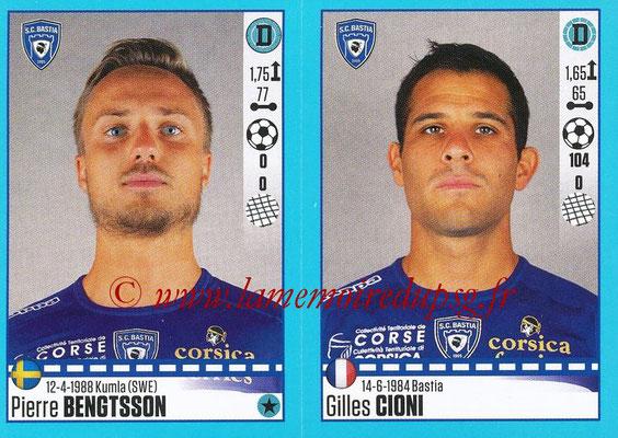 2016-17 - Panini Ligue 1 Stickers - N° 064 + 065 - Pierre BENGTSSON + Gilles CIONI (Bastia)