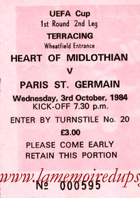 Ticket  Hearts of Midlothian-PSG  1984-85