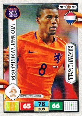 2018 - Panini Road to FIFA World Cup Russia Adrenalyn XL - N° NED09 - Georginio WIJNALDUM (Pays-Bas)