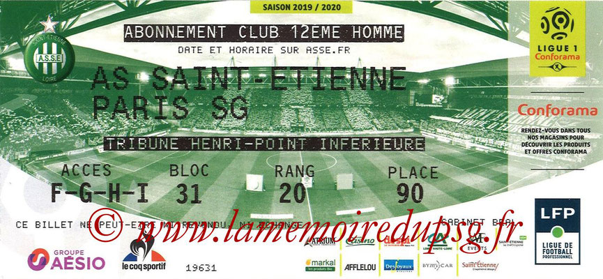 Ticket  Saint Etienne-PSG  2019-20