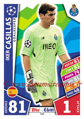 2017-18 - Topps UEFA Champions League Match Attax - N° 218 - Iker CASILLAS (FC Porto)