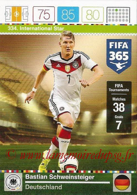 2015-16 - Panini Adrenalyn XL FIFA 365 - N° 334 - Bastian SCHWEINSTEIGER (Allemagne) (International Star)
