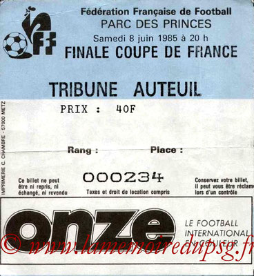Ticket  PSG-Monaco  1984-85