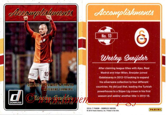 2016 - Panini Donruss Cards - N° A13 - Wesley SNEIJDER (Galatasaray AS) (Accomplishments)