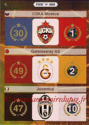 2015-16 - Panini Adrenalyn XL FIFA 365 - N° 006 - Logo et Palmarès CSKA Moscou + Galatasaray AS + Juventus FC