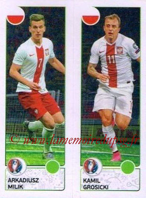 Panini Euro 2016 Stickers - N° 318 - Arkadiusz MILIK + Kamil GROSICKI (Pologne)