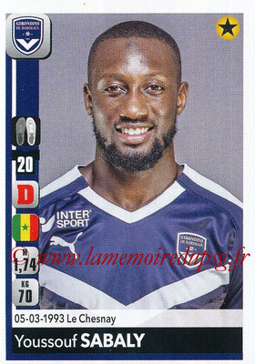 2018-19 - Panini Ligue 1 Stickers - N° 059 - Youssouf SABALY (Bordeaux)