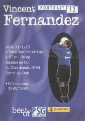 N° 012 - Vincent FERNANDEZ (Verso)