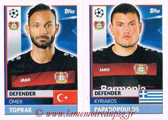2016-17 - Topps UEFA Champions League Stickers - N° LEV 8-9 - Kyriakos PAPADOPOULOS + Omer TOPRAK (Bayer 04 Leverkusen)