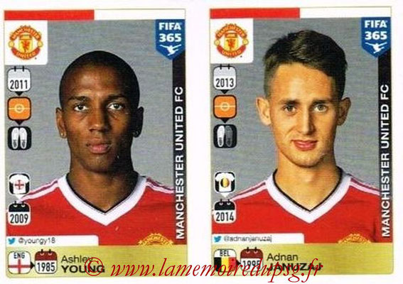2015-16 - Panini FIFA 365 Stickers - N° 335-336 - Ashley YOUNG + Adnan JANUZAJ (Manchester United FC)