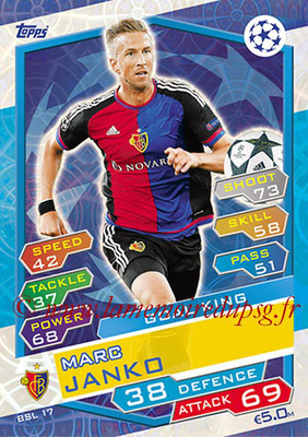 2016-17 - Topps UEFA Champions League Match Attax - N° BSL17 - Marc JANKO (FC Bale) (Goal King)