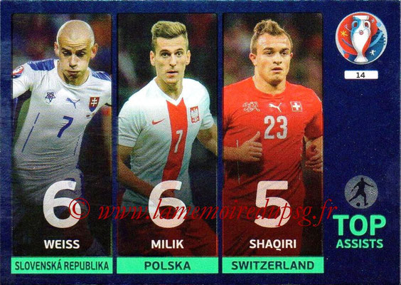 Panini Euro 2016 Cards - N° 014 - Weiss + Milik + Shaqiri (Top Assists)