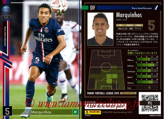 Panini Football League 2015 - PFL13 - N° 057 - MARQUINHOS (Paris Saint-Germain)