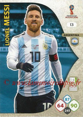 2018 - Panini FIFA World Cup Russia Adrenalyn XL - N° 013 - LioneL MESSI (Argentine)