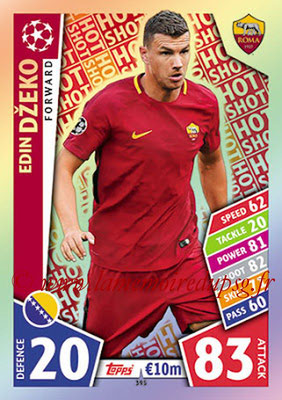 2017-18 - Topps UEFA Champions League Match Attax - N° 395 - Edin DZEKO (AS Roma) (Hot Shot)