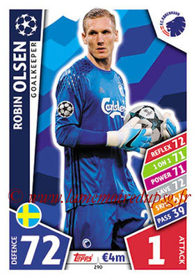2017-18 - Topps UEFA Champions League Match Attax - N° 290 - Robin OLSEN (FC Copenhague)