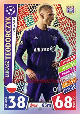 2017-18 - Topps UEFA Champions League Match Attax - N° 287 - Lukasz TEODORCZYK (RCS Anderlecht) (Hot Shot)