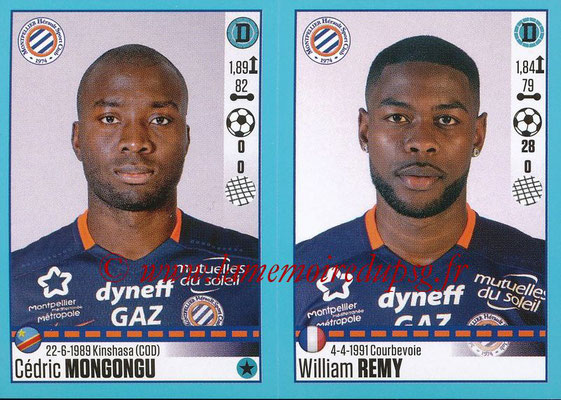 2016-17 - Panini Ligue 1 Stickers - N° 530 + 531 - Cédric MONGONGU + William REMY (Montpellier)