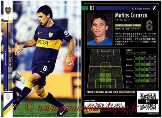 Panini Football League 2013 - PFL01 - N° 114 - Matias Caruzzo ( C.A. Boca Juniors )
