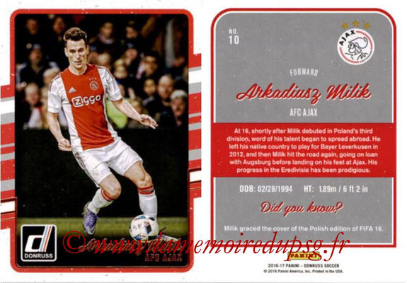 2016 - Panini Donruss Cards - N° 010 - Arkadiusz MILIK (AFC Ajax)