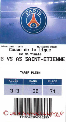 Tickets  PSG-Saint Etienne  2015-16