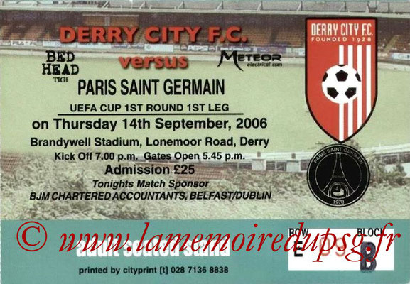 Tickets  Derry City-PSG  2006-07