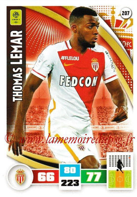 2016-17 - Panini Adrenalyn XL Ligue 1 - N° 207 - Thomas LEMAR (Monaco)