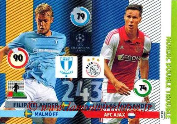 2014-15 - Adrenalyn XL champions League N° NE01 - Filip HELANDER (Malmö FF) - Niklas MOISANDER (AFC Ajax) (Nordic Double trouble)