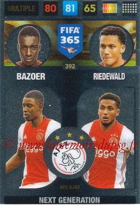 2016-17 - Panini Adrenalyn XL FIFA 365 - N° 392 - BAZOER + RIEDEWALD (AFC Ajax) (Next Generation)