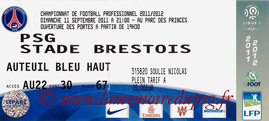 Tickets PSG-Brest  2011-12