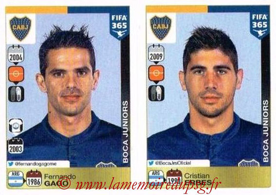 2015-16 - Panini FIFA 365 Stickers - N° 080-081 - Fernando GAGO + Cristian ERBES (CA Boca Juniors)