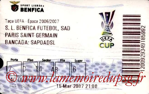 Tickets  Benfica-PSG  2006-07