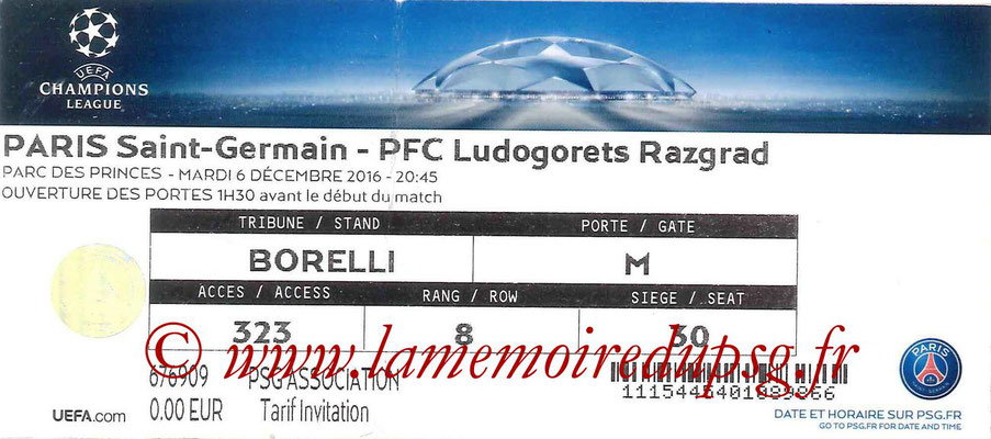 Ticket  PSG-Ludogorets  2016-17