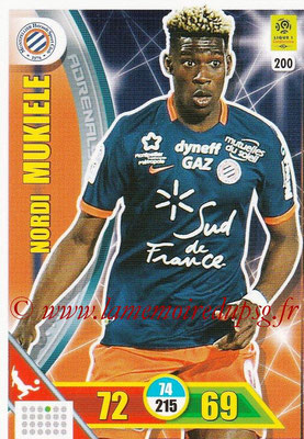2017-18 - Panini Adrenalyn XL Ligue 1 - N° 200 - Nordi MUKIELE (Montpellier)