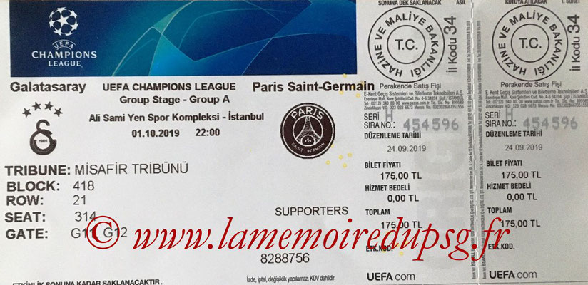 Ticket  Galatasaray-PSG  2019-20
