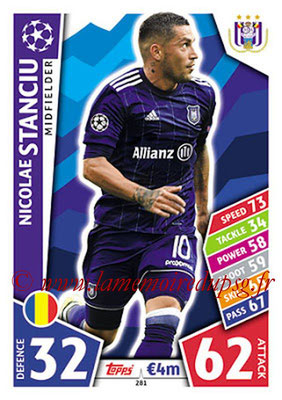2017-18 - Topps UEFA Champions League Match Attax - N° 281 - Nicolae STANCIU (RCS Anderlecht)