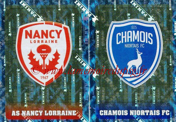 2018-19 - Panini Ligue 1 Stickers - N° 543 - Ecussons AS Nancy Lorraine + Chamois Niortais FC