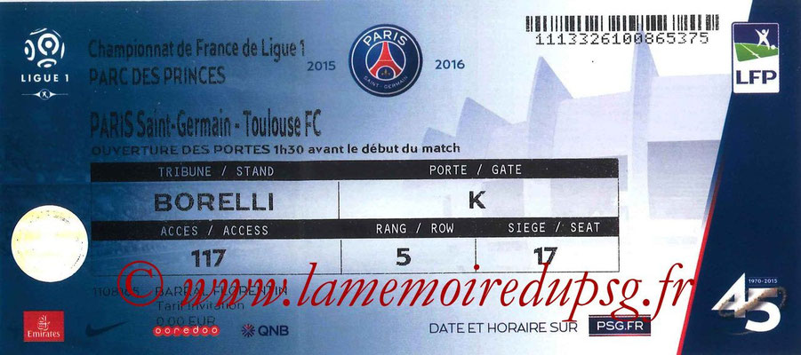 2015-16  Tickets  PSG-Toulouse