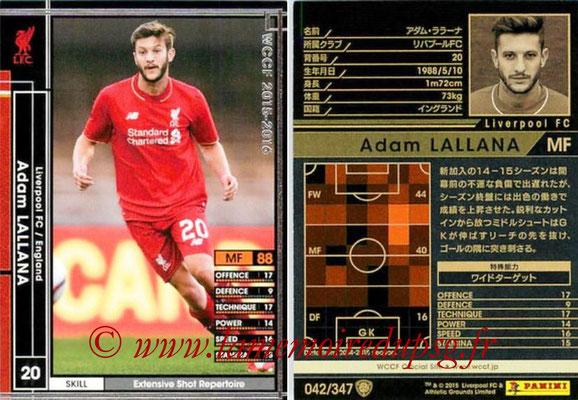 2015-16 - Panini WCCF - N° 042 - Adam LALLANA (Liverpool FC)