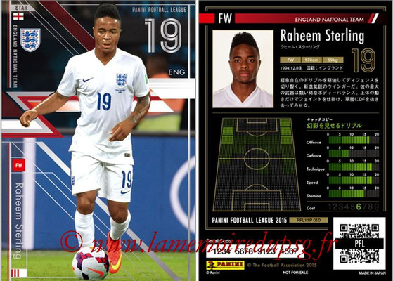 Panini Football League 2015 - PFL11P - N° 010 - Raheem STERLING (Angleterre) (Star)