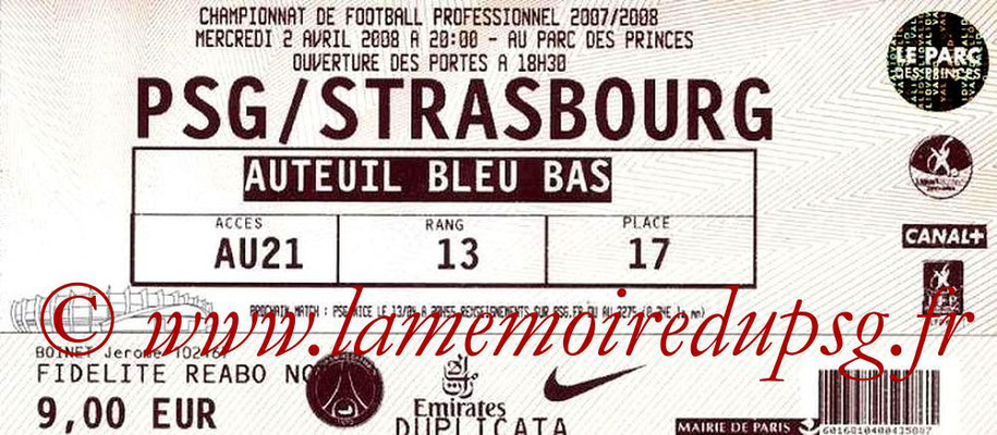 Tickets  PSG-Strasbourg  2007-08