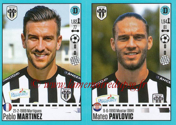 2016-17 - Panini Ligue 1 Stickers - N° 026 + 027 - Pablo MARTINEZ + Mateo PAVLOVIC (Angers)